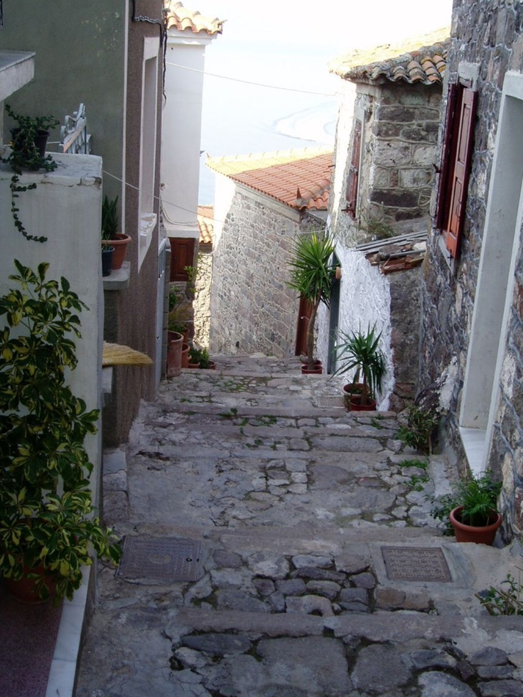 Lesvos: Molyvos residential alleyway high above the shoreline
