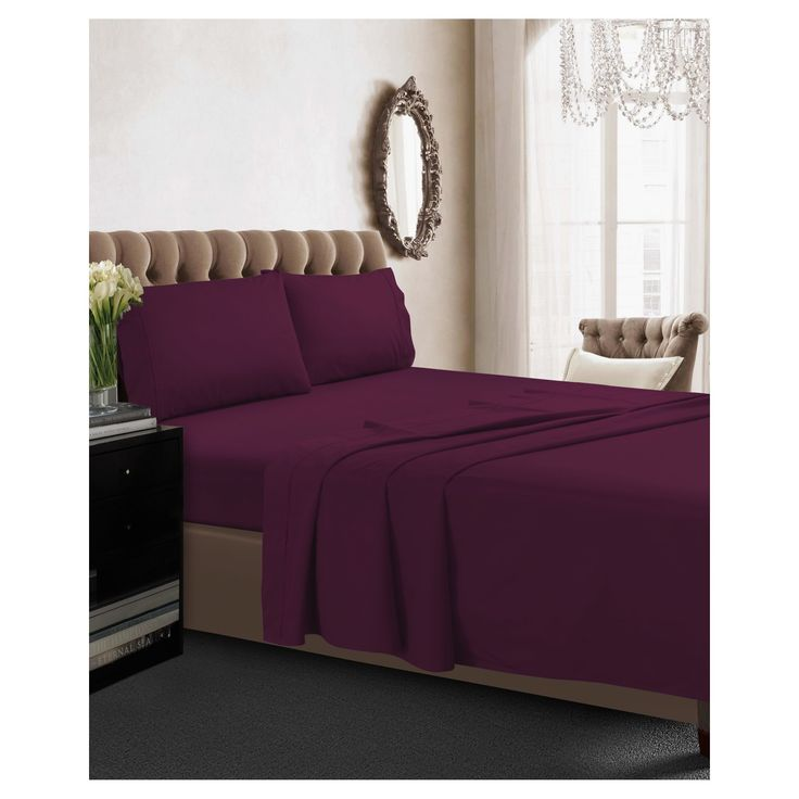 cotton percale deep pocket solid sheet set twin extra long purple 350 thread count