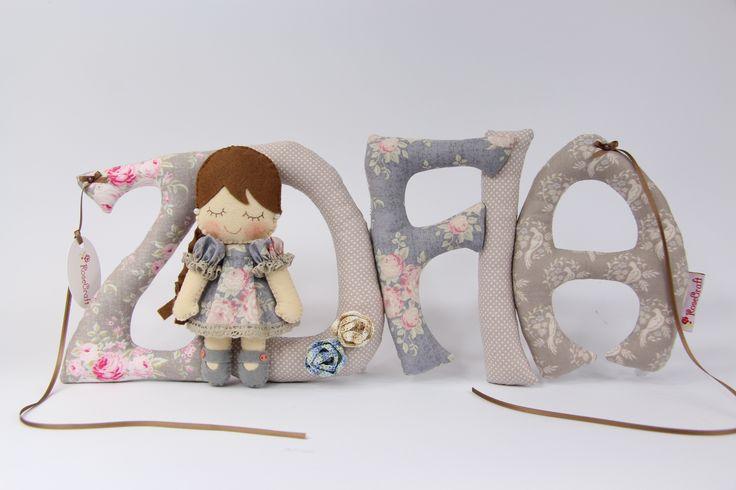 Szyte literki z laleczka Sew letters with doll