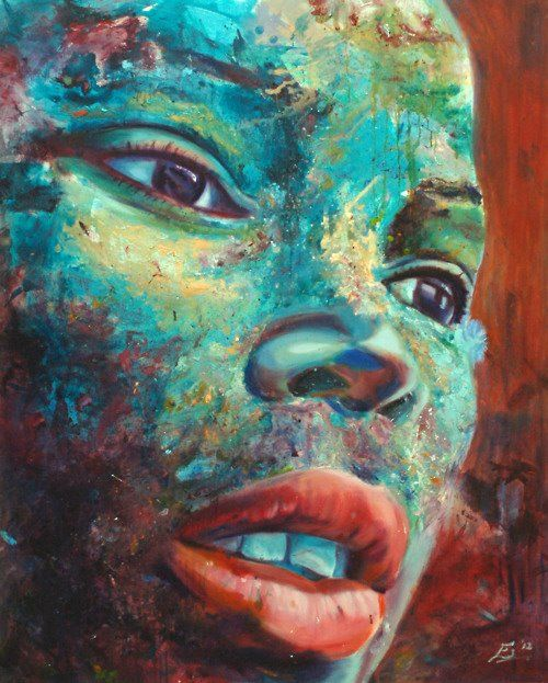 Girl with the Thousand Yard Stare  5'x4'  oil on canvas by Esther Griffith