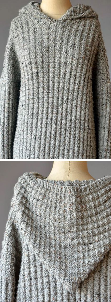 """Free Knitting Pattern for 4 Row Repeat Kenan's Hoodie - This unisex long-sleeved hooded pullover is knit with a 4 row repeat variation of the Broken Rib Stitch. Chest: 33½ (37, 40½, 44, 47, 50½, 54, 57½)"""" Worsted weight. Designed by Yonca Ozbelli for Universal Yarn. Designed as a men's sweater but could easily work for women."""