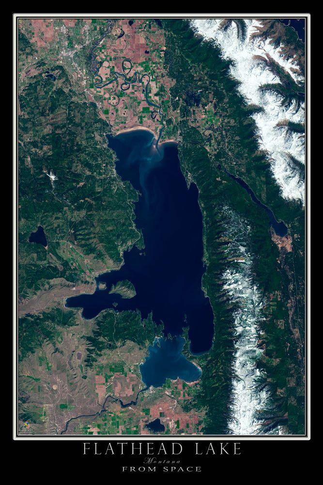 Flathead Lake Montana Satellite Poster Map 28