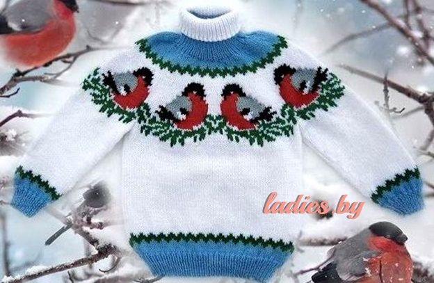 Вязаный детский свитер со снегирями