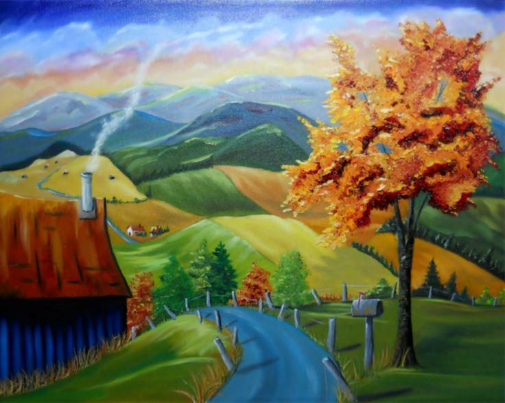 Vallée d'automne Huile sur toile www.helenelatour.com