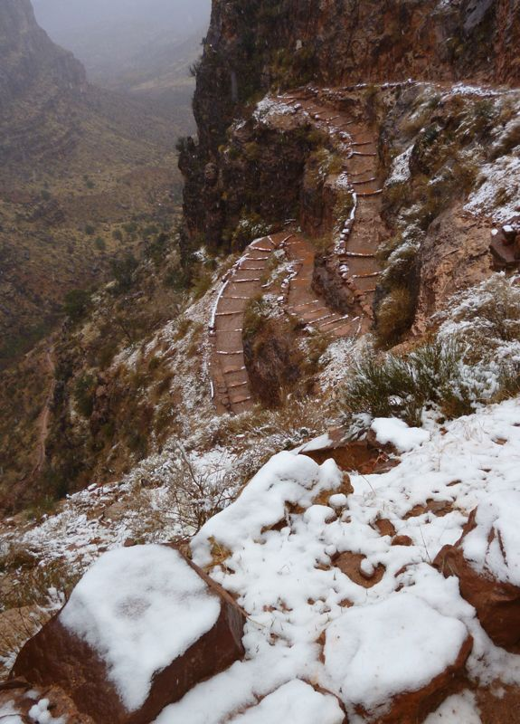 Grand Canyon Adventure - Bright Angel Trail, Grand Canyon, hike to Phantom Lodge.  Gorgeous in the wintertime!!