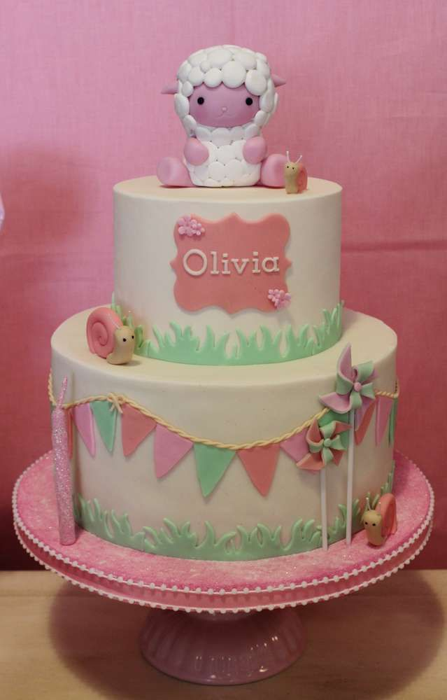 Love this cake at a sheep birthday party! See more party ideas at CatchMyParty.com!