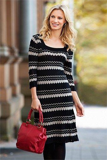 Capture Dresses - Brands - Capture Square Neck Chevron Dress - EziBuy Australia