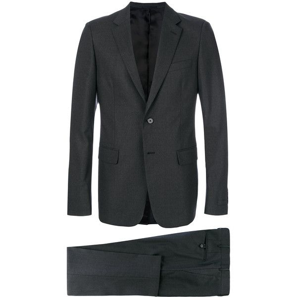 Prada embroidered micro pinstripe suit ($2,620) ❤ liked on Polyvore featuring men's fashion, men's clothing, men's suits, grey, mens pinstripe suit, prada mens clothing, mens grey suits, mens gray suit and men's grey pinstripe suit