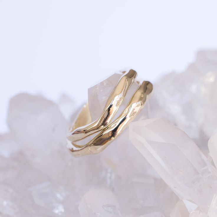 Gold bands picked up by The Lane wedding guide page. Made by 27JEWELRY