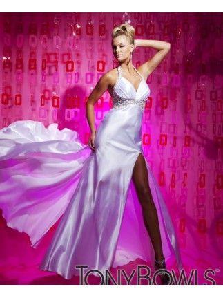 Halter Neck Backless Long White Evening Dress