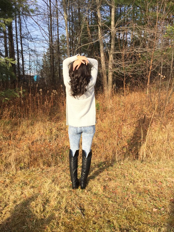 #knit #jeans #cozy #casual #ootd #outfit #look #style #fashion #knee #boots