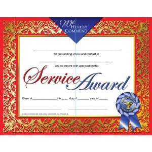 Recognition of Service Award Certificate! 30/pack ...