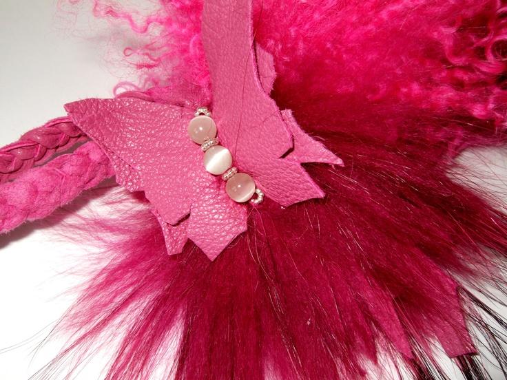 Tibetlamm und Leder in Rosa und Pink