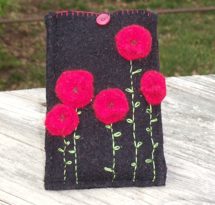 smart phone case made from felted merino wool and hand decorated,