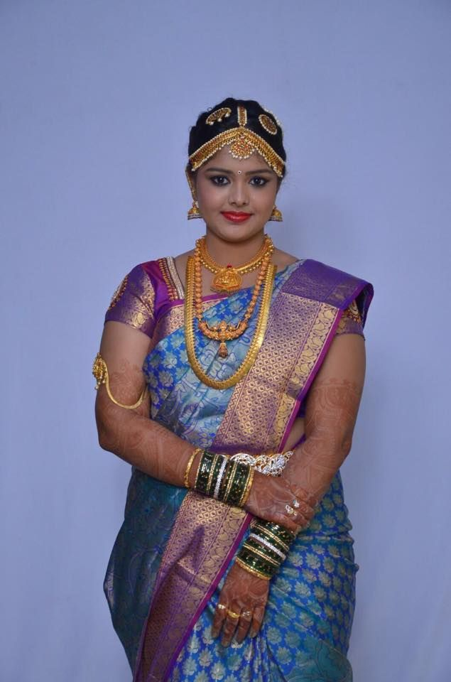 southern bridal silk saree and jewellery