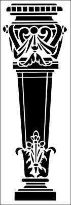 Pedestal No 1 stencil from The Stencil Library ARCHITECTURE range. Buy stencils online. Stencil code AR57.
