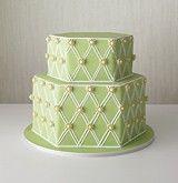 hexagon wedding cake ideas | Green hexagonal cake