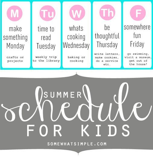 LOVE, love, love this summer schedule for kids! Such a great idea to keep moms sane during the summer!