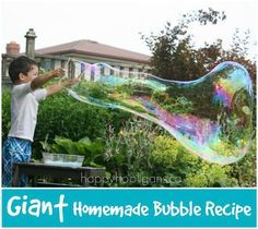 Giant Homemade Bubble Recipe by Happy Hooligans
