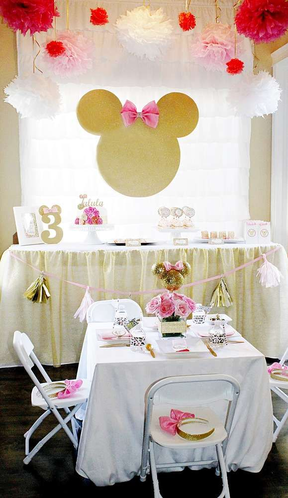 Dessert table at a Minnie Mouse birthday party! See more party ideas at CatchMyParty.com!