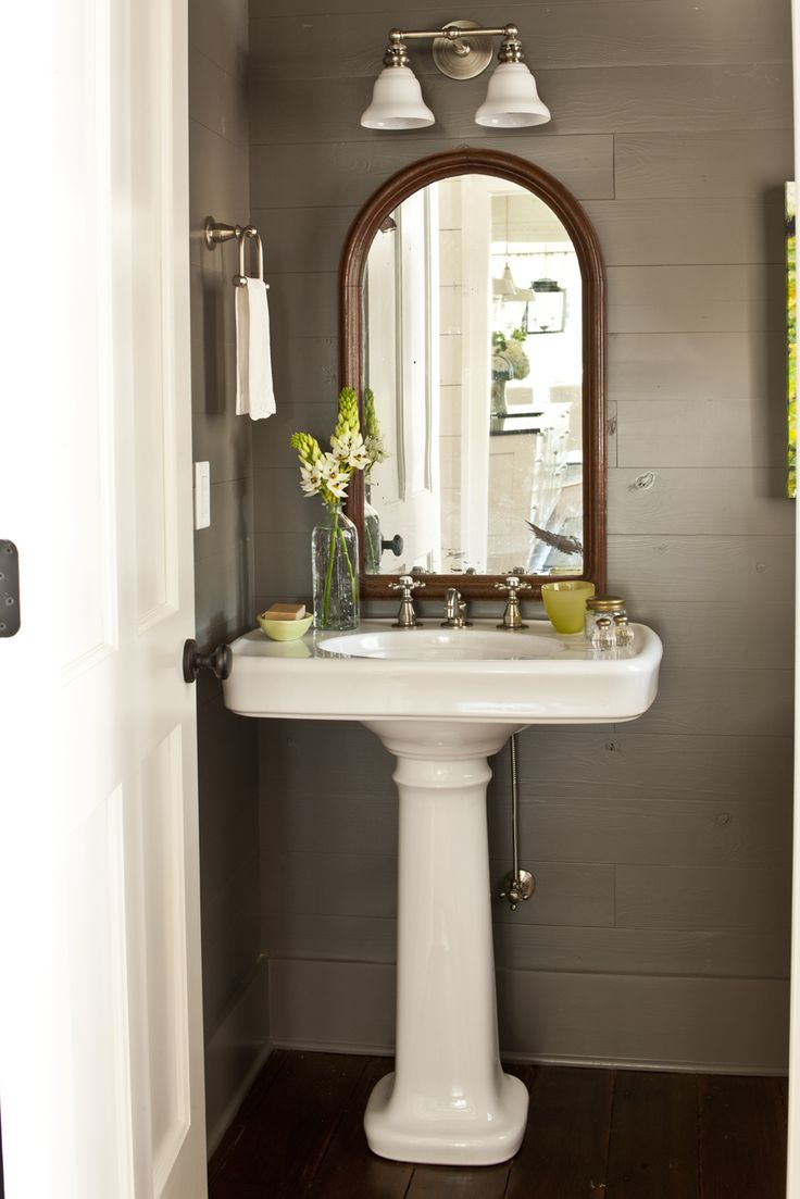 Bathroom sink and mirror - Mirrors And Pedestal Sink Under Stairs Bathroom