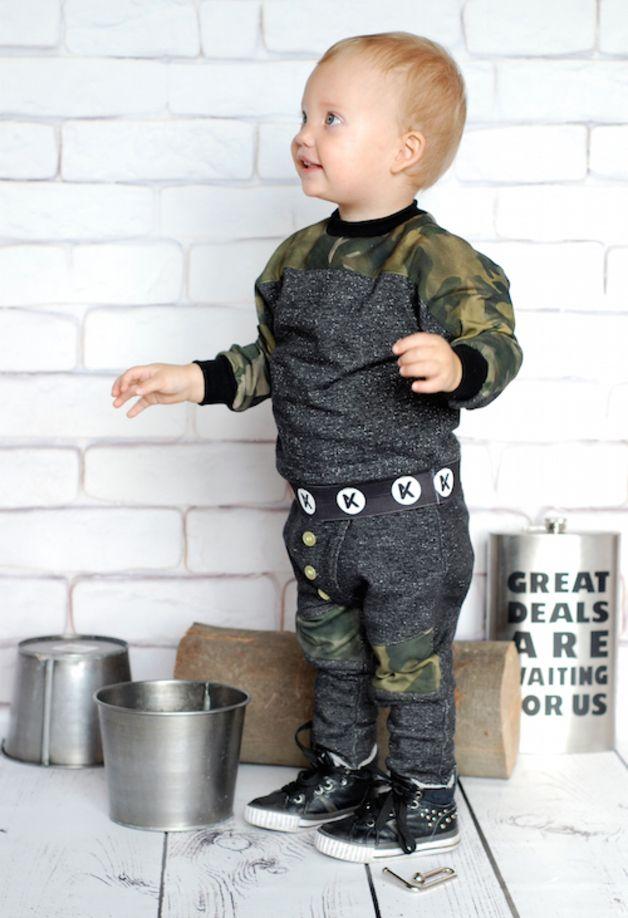 Grafitowe spodenki ze wstawkami moro KOKILOK - KOKILOK - Spodnie dla dzieci