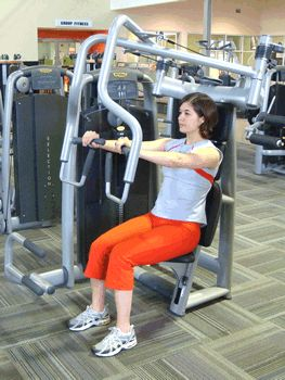 Seated Chest Press Machine Exercise Demonstration