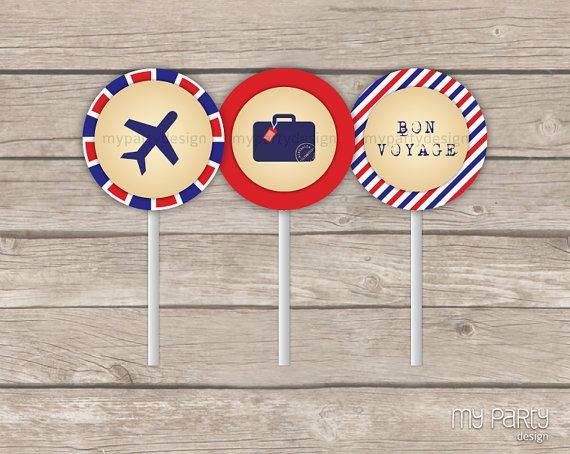 INSTANT DOWNLOAD - PRINTABLE PDF  TRAVEL / FAREWELL PARTY - PRINTABLE PARTY CIRCLES      ------------------------------------------------------