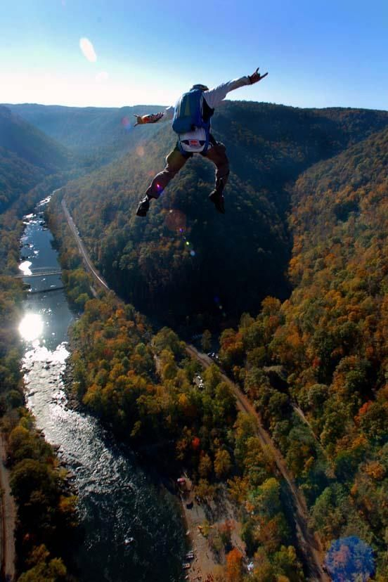 Base jumping on Bridge Day at New River Gorge, West Virginia