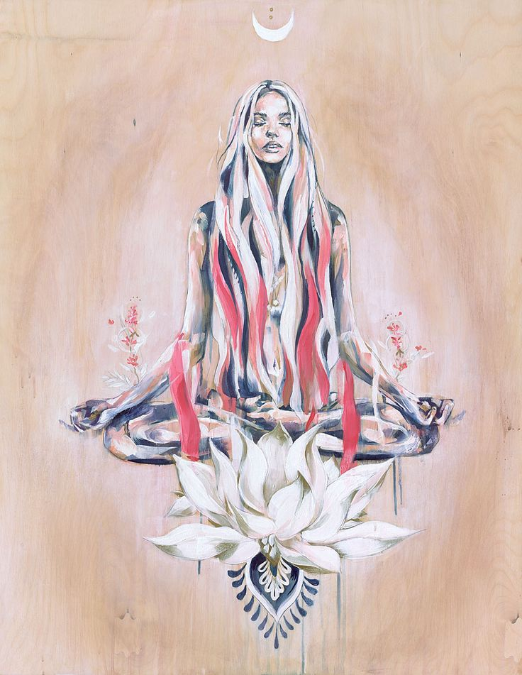 Peace and Hazy Days | Peaceful reflection yoga painting in oils of the lotus pose | by Hannah Adamaszek online shop and gallery