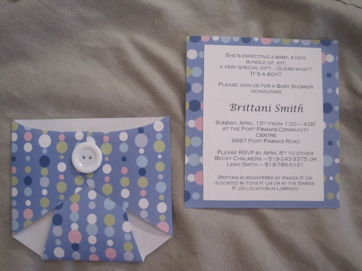 Adorable and easy baby shower invitations. Template available at http://www.homemade-gifts-made-easy.com/diaper-card.html. All you need is some patterned paper and buttons or ribbon to hold the card together. I used buttons because it was more sturdy than when I used ribbon! You could probably even find some cute diaper pins and use them.