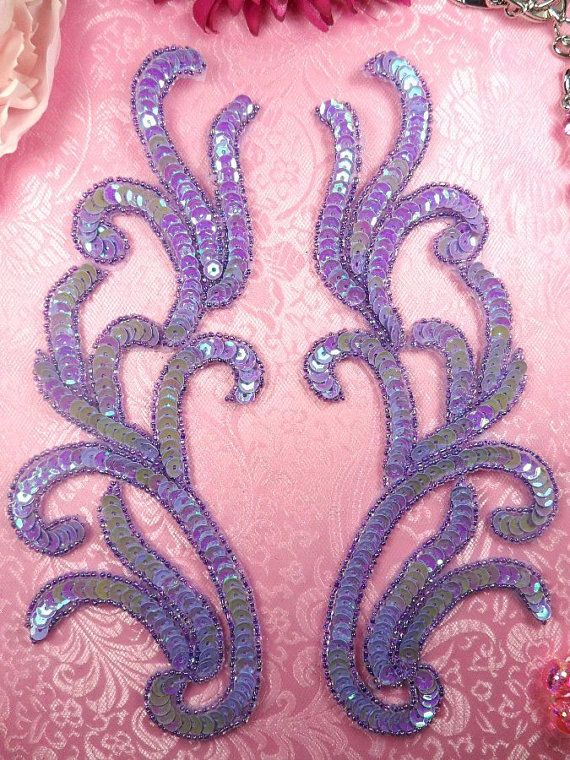 "0170 Appliques Lavender AB Mirror Pair Sequin Beaded 9"" (0170X-lvab)"