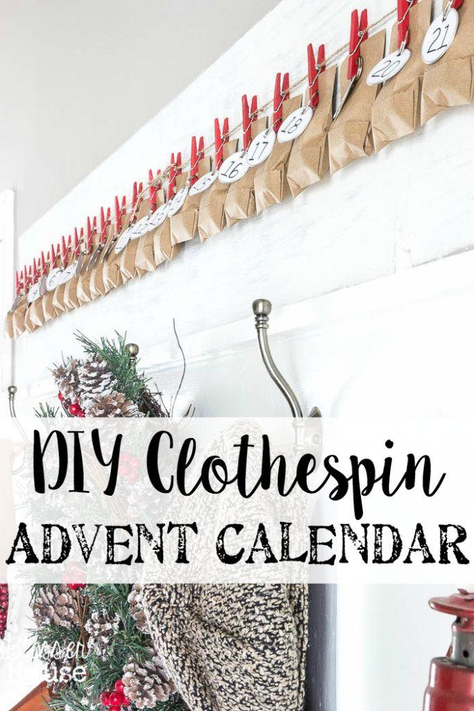 Diy Calendar Hanger : Diy clothespin advent calendar valentines clothespins