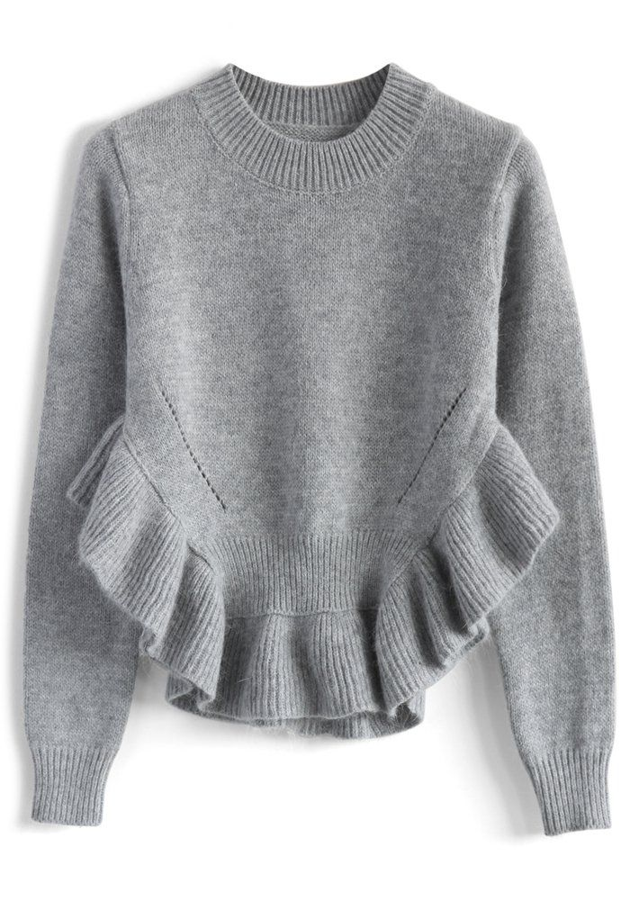 Adorable Frilling Hemline Sweater in Grey - Retro, Indie and Unique Fashion