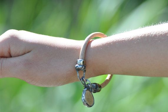 Leather bracelet ceramics natural  bracelet jewelry by zolanna
