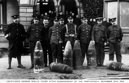 Posing with shells after bombardment December 1914 outside Staincliffe Hotel.