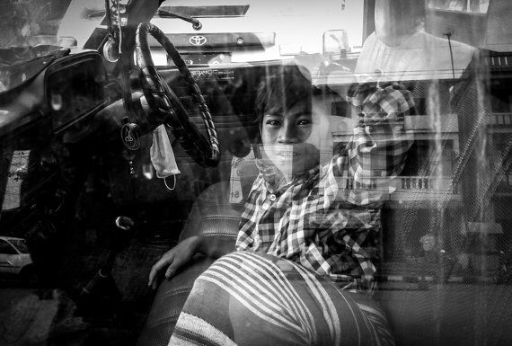 Travel - Photography - Reflection - Unique Art - Black and White - Myawaddy, Burma on Etsy, $28.00