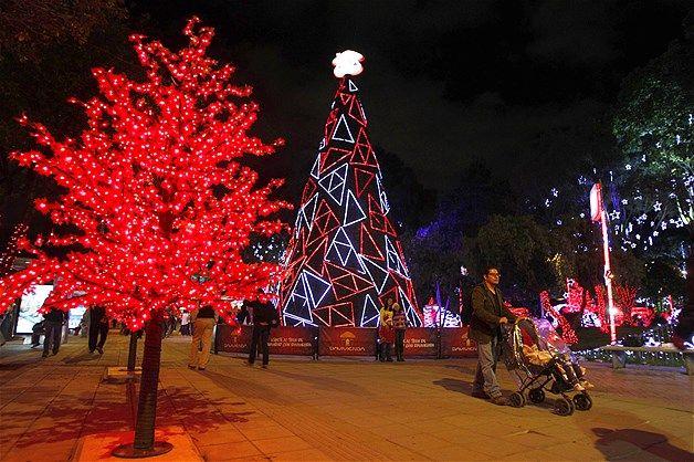 Image: Christmas lights decorate a neighborhood park in northern Bogota, Colombia. (© Fernando Vergara/AP)