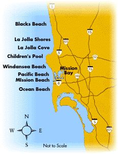 Photo of Map of San Diego Beachs