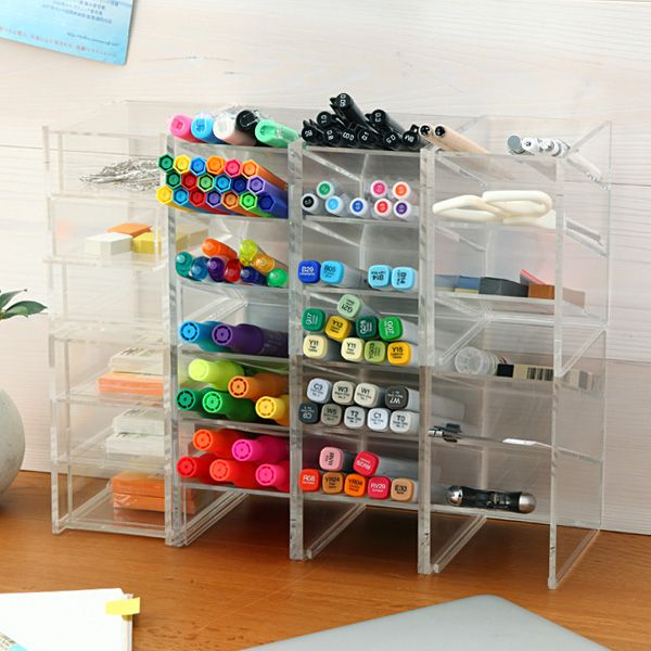 Muji - Acrylic desk rack - about 6 of them in this image