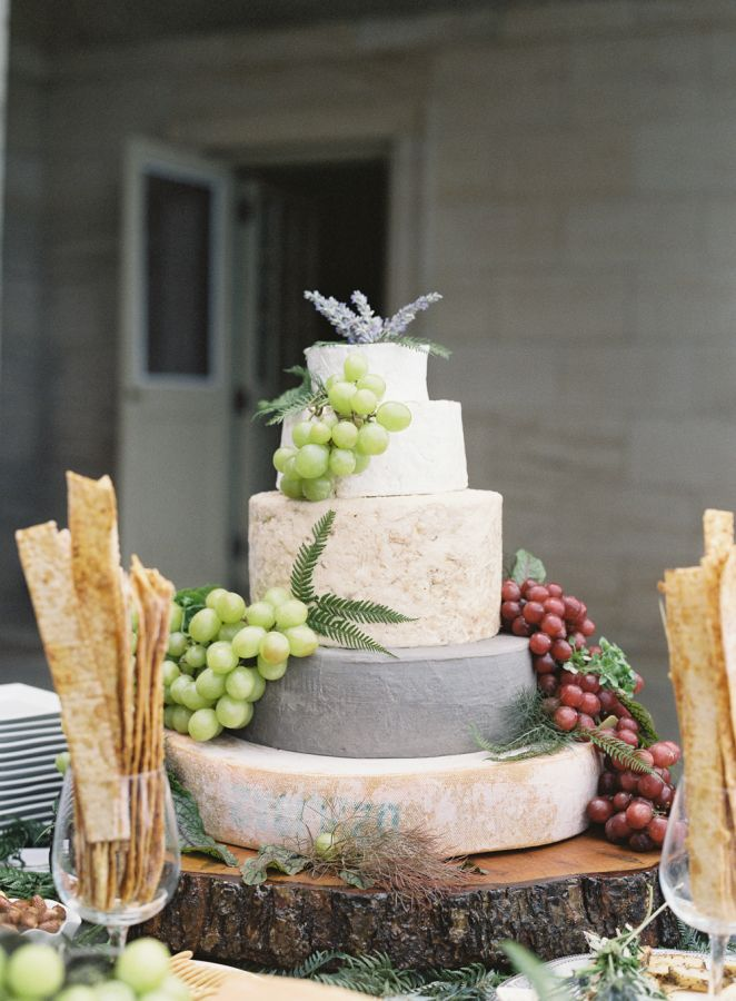 A 'cheese wheel' cake: http://www.stylemepretty.com/2015/08/26/elegant-whimsical-crane-estate-wedding/ | Photography: O'Malley Photographers - http://omalleyphotographers.com/