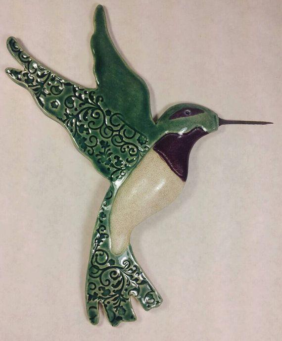 Bird sculpture, bird sculptures, pottery bird, ceramic bird, hummingbird, gift for bird lo... $60