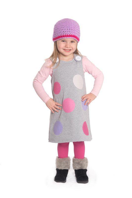 Polka dot dress pinafore dress toddler dress by CraftaholicShop
