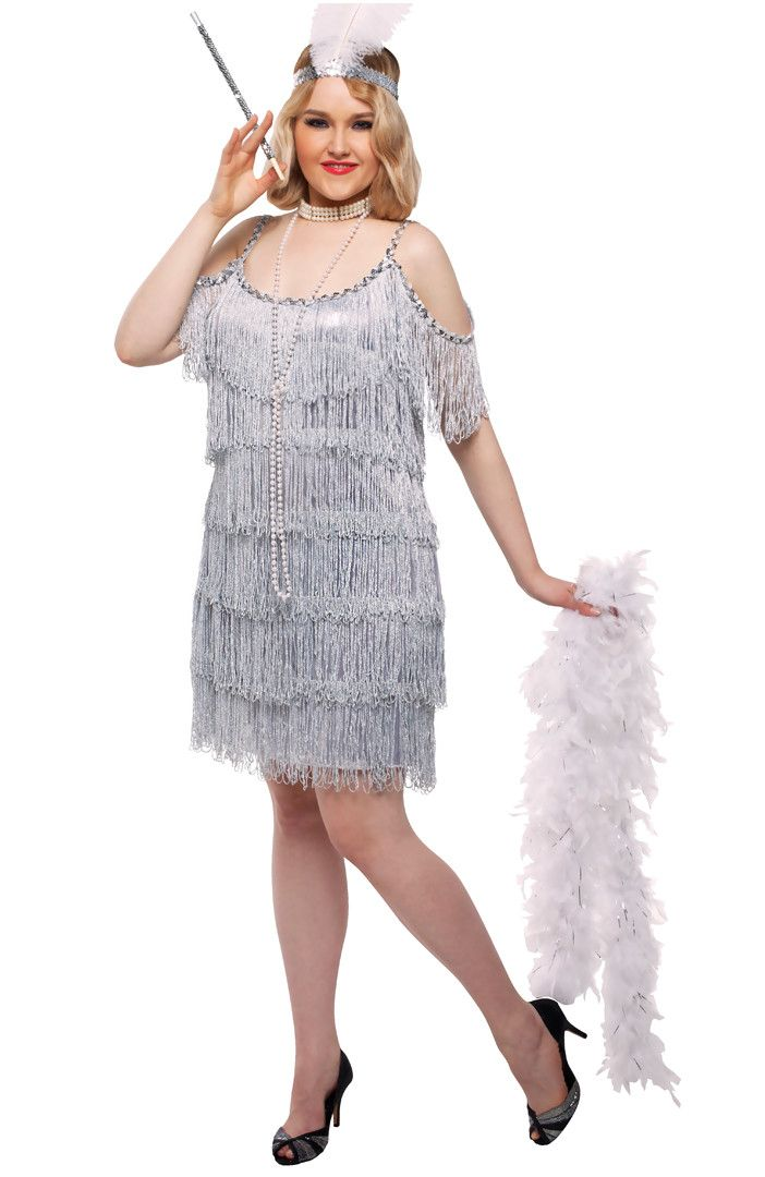 #82018 Perfect for roaring '20s costume parties or musicals. Includes: One flapper dress with sequin trim and a feather headpiece. Sizes: Womens XL, XXL