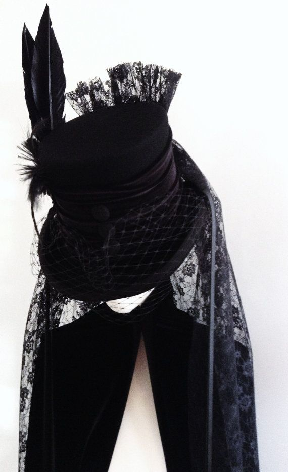 Gothic mourning Raven black lace top hat by Blackpin on Etsy