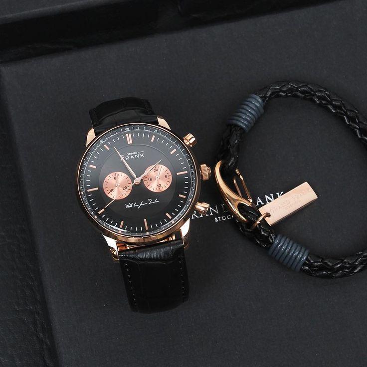 The Kingston black rose together with the Black wrap leather bracelet ⌚️ #grandfrankwatches www.Grandfrank.com