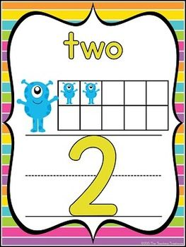 These adorable number posters will go great with any monster theme classroom décor! Included are full size posters(7.5x10 inches), mini posters(5x7 inches), and bonus flashcards(3x4.5 inches) in portrait orientation. Each number is shown as standard form, written form, and ten frame. Includes numbers 0-20. $