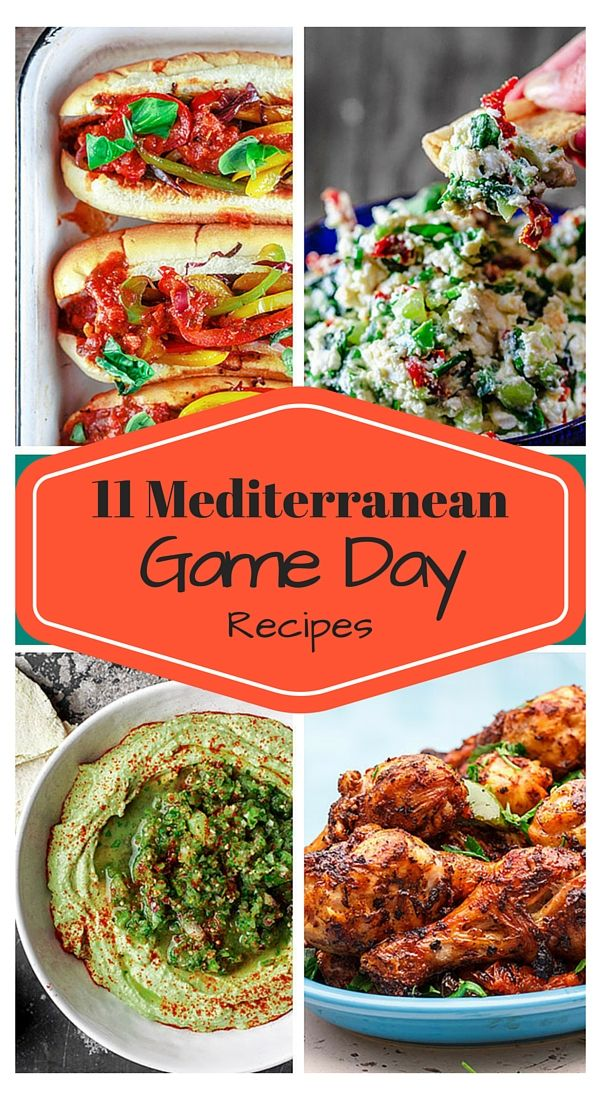 11 Mediterranean Game Day Recipes | The Mediterranean Dish. Crazy good party dips and recipes with a Mediterranean twist! From quick homemade dips to spicy chicken drumsticks; Italian sausage hoagies loaded with peppers and onions! Be sure to double the recipes because everyone will come back for seconds! #ComfortFoodFeast