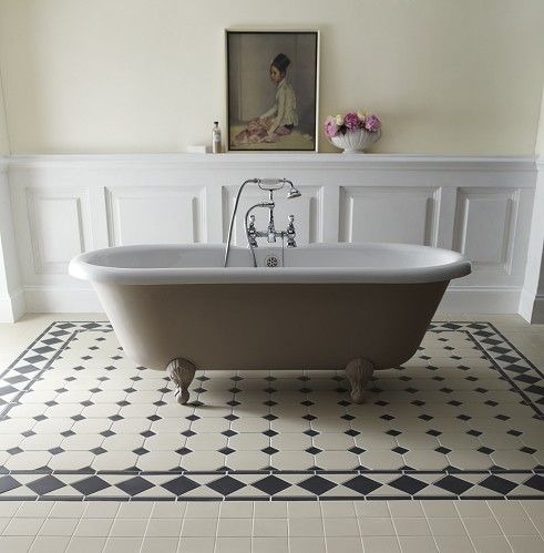 #Bathroom inspirational ideas for your renovation project - stunning black and white tiles - Buxton Border 10cm Black/White http://www.myrenovationstore.com