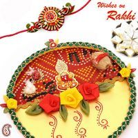 Bandhni Rakhi Thali With Sweets Buy Rakhi Online - Send Rakhi To Usa